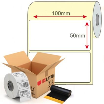 Kit Etiqueta de Produto 100x50mm + Ribbon Cera