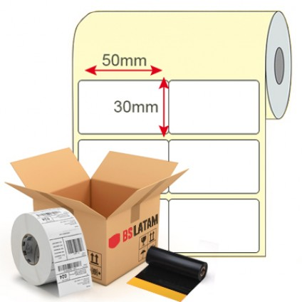 Kit Etiqueta de Produto 50x30mm + Ribbon Cera